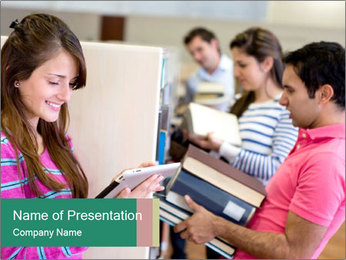 Students at College Library PowerPoint Template