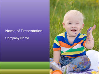Baby with Down Syndrome PowerPoint Template & Backgrounds ID ...