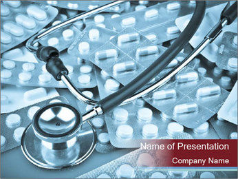 Stethoscope Lying on Pills PowerPoint Template