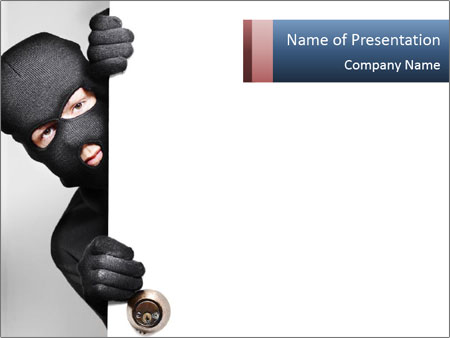 Robber In Black Mask PowerPoint Template