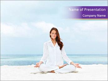 Woman Meditating on the Beach Modèles des présentations  PowerPoint