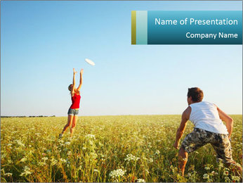 Young Friends Having Fun on Summer Meadow PowerPoint Template