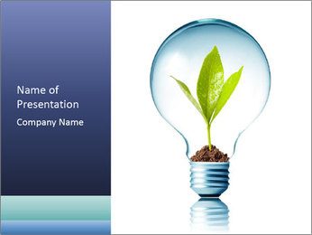 Protective Light Bulb with Green Sprout PowerPoint Template