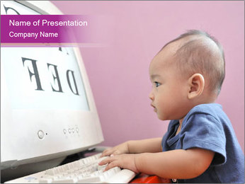 Baby Typing Letters on PC PowerPoint Template
