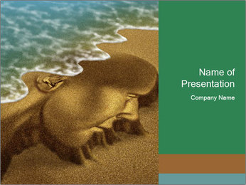 Sand Sculpture Washing Away PowerPoint Template