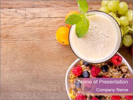 muesli and fruit yogurt for breakfast powerpoint template, Presentation templates
