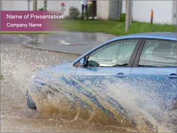 Car Driving in Mud PowerPoint Template