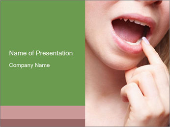Woman with Herpec Virus PowerPoint Template