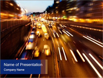 Road Traffic at Night PowerPoint Template