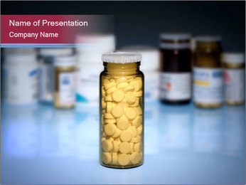 Glass Bottle Filled with Pills PowerPoint Template