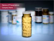 Glass Bottle Filled with Pills PowerPoint Templates