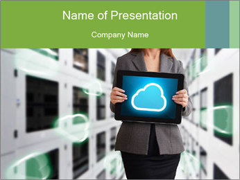 Tablet with Cloud Icon PowerPoint Template