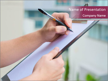 Manager Writing on Clipboard PowerPoint Template