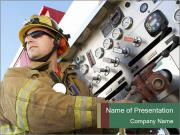 Firefighter at Work PowerPoint Templates