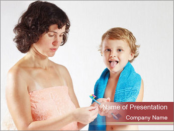 Small Boy Learns How to Brush Teeth PowerPoint Template