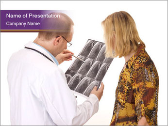 Doctor Examining Patient's X-Ray PowerPoint Template