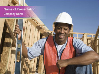 Smiling Afro-American Bulder PowerPoint Template