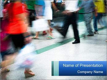 Crowded Sidewalk PowerPoint Template