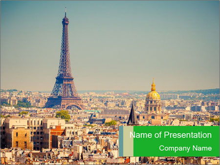 aerial view of paris powerpoint template & backgrounds id, Modern powerpoint