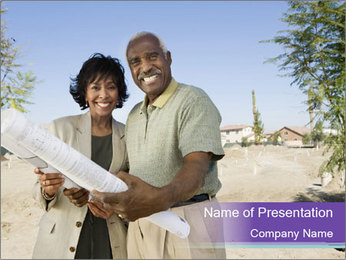 Senior Afro-American Couple PowerPoint Template