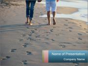 Morning Walk on the Beach PowerPoint Templates