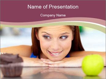 Woman Choosing Between Muffin and Apple Modèles des présentations  PowerPoint