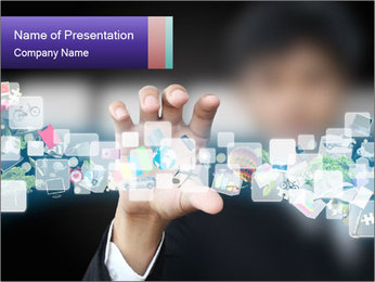 Icons on Touch Screen PowerPoint Template