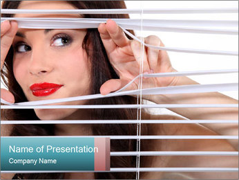Woman Spying in the Office PowerPoint Template