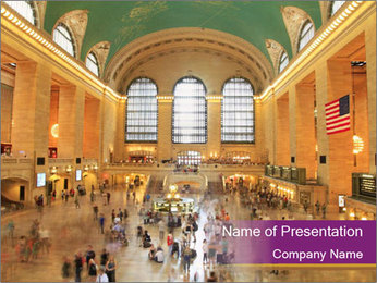 Railway Station in New York PowerPoint Template