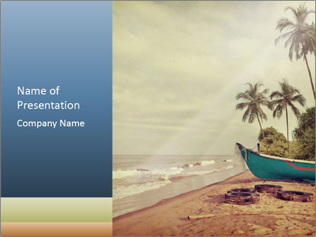 goa in retro styled postcard powerpoint template & backgrounds id, Presentation templates