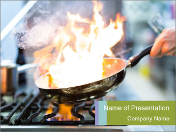 Chefcook Doing Flambe PowerPoint Template