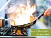 Chefcook Doing Flambe PowerPoint Templates