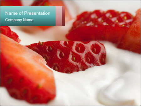 yogurt with strawberry powerpoint template & backgrounds id, Presentation templates