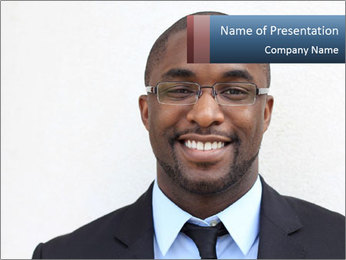 Smiling Afro-American Manager PowerPoint Template