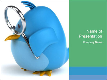 Blue Pinguin with Loupe PowerPoint Template