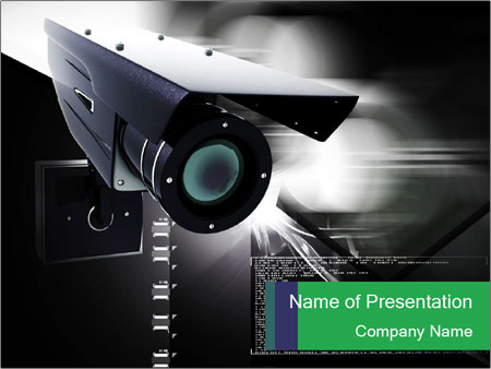 security camera powerpoint template & backgrounds id 0000032853, Presentation templates