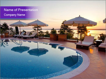 Hotel with Beautiful Pool PowerPoint Template