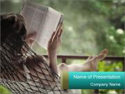 Woman Reading Book in Hammock PowerPoint Templates