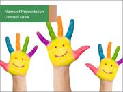 Kids with Painted Hands PowerPoint Templates