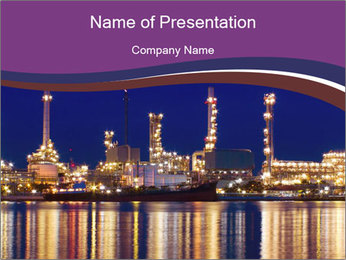 City Lights Reflecting in Water PowerPoint Template