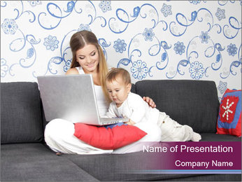 Woman with Baby And Laptop PowerPoint Template