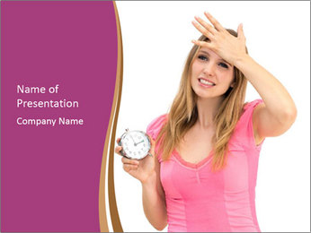 Beautiful woman holding a clock PowerPoint Template