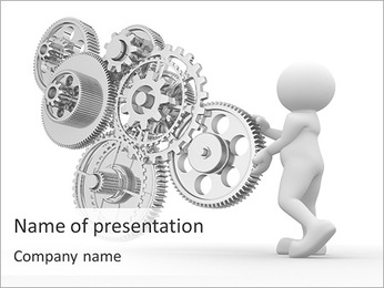 Man With Mechanism PowerPoint Template