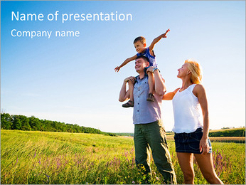 Family Trip To Village PowerPoint Template