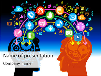 Communication Via Social Net PowerPoint Template