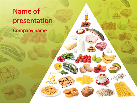 healthy food pyramid powerpoint template & backgrounds id, Modern powerpoint