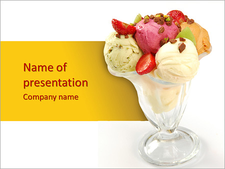 ice cream with strawberry powerpoint template & backgrounds id, Presentation templates