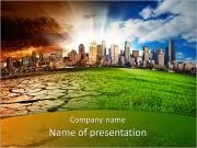 Skyscrapers And Dry Soil PowerPoint Template