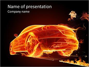 Fire Car PowerPoint Template