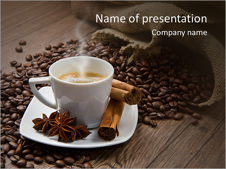coffee with cinamon powerpoint template & backgrounds id, Presentation templates